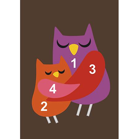 Открытка на день матери сова и совенок шаблон, открытки